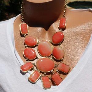 New! Boho Marbleized Coral Bib Statement Necklace